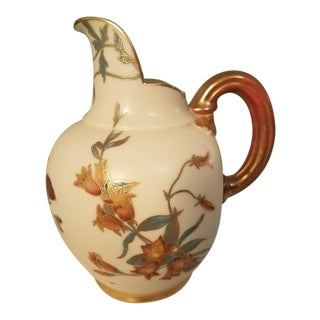 Royal Worcester Gilded Flatback Pitcher Circa 1890 For Sale