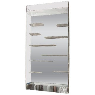 STUNNING LES PRISMATIQUES FREE FLOATING LUCITE SHELVES AND MIRROR WALL VITRINE For Sale