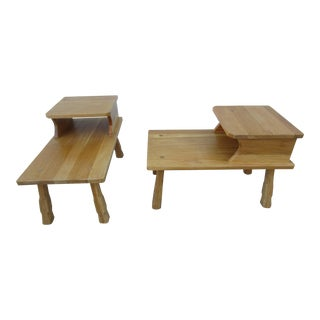 A. Brandt Ranch Oak Step End Tables - a Pair