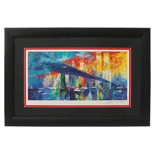 1995 Brooklyn Bridge Lithograph Ltd Ed Signed by American Artist LeRoy Neiman For Sale
