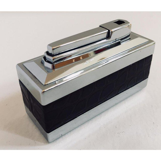 1970s Vintage West Germany Table Lighter With Brown Crocodile Leather For Sale - Image 5 of 11