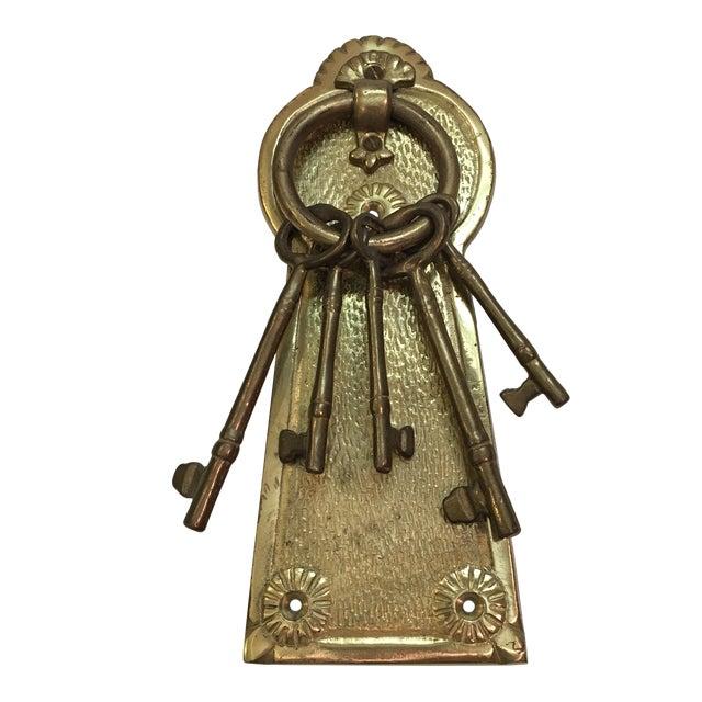 Vintage Brass Lock & Keys Door Knocker For Sale