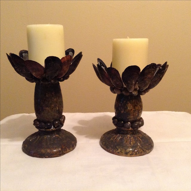Mussel Shell & Pottery Candleholders - A Pair - Image 2 of 7