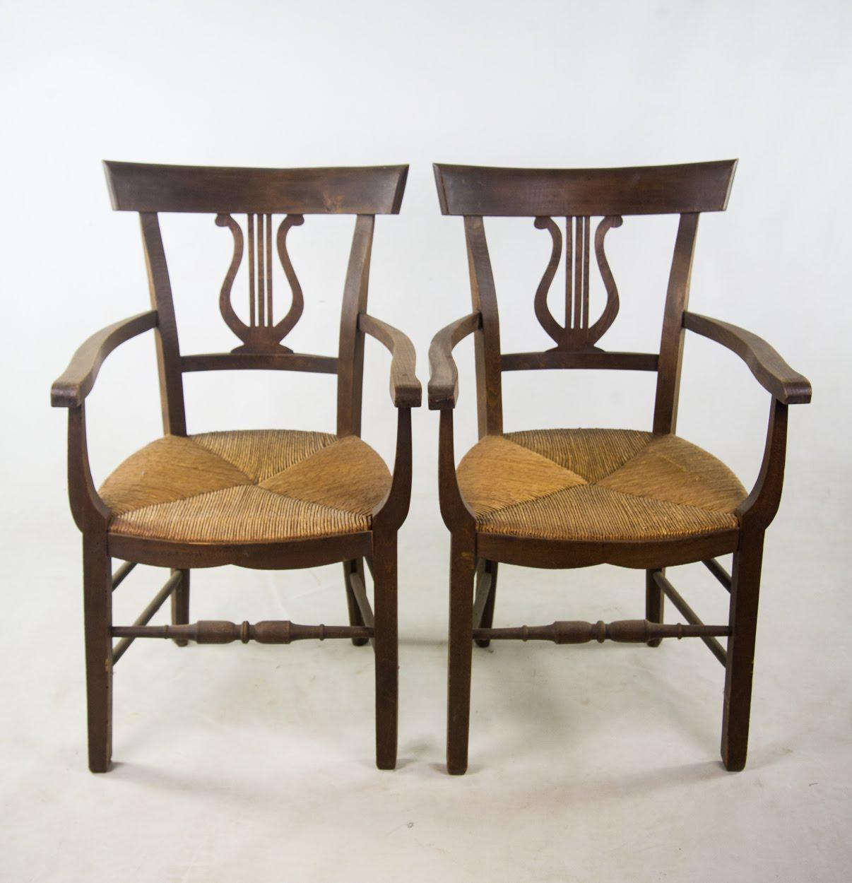 Lovely Empire Style Hand Woven Rush Chairs   A Pair For Sale   Image 11 Of 11