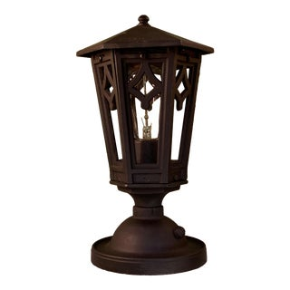 1920s Black Outdoor Post Lantern For Sale