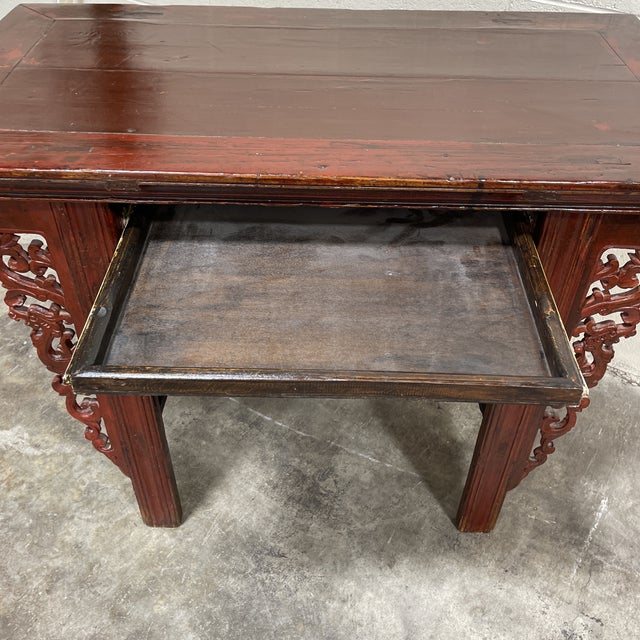 Wood Vintage Chinese Alter Table Desk For Sale - Image 7 of 12