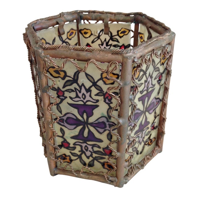 Bohemian Moroccan Brass & Glass Candle Lantern - Image 1 of 10