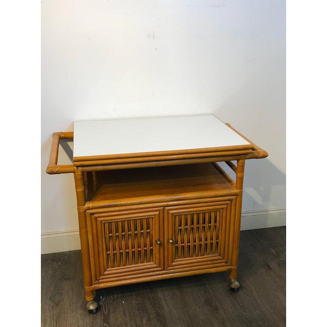 Gold Midcentury Rattan Expandable Bar Cart For Sale - Image 8 of 13