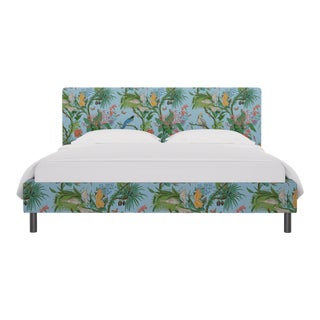 California King Tailored Platform Bed In Sky Cinque Terra By Old World Weavers For Sale
