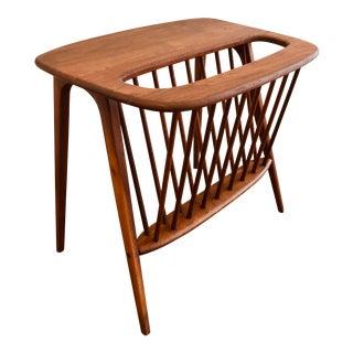 Umanoff Walnut Side Table W/ Magazine Rack