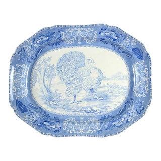 "1970s Spode Camilla Blue Transferware Turkey 22"" Oval Serving Platter For Sale"