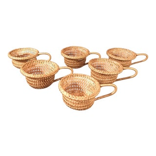Vintage Wicker Straw Cup Holders - Set of 6