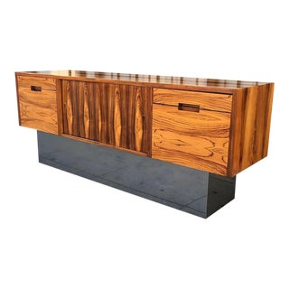 Rosewood Chrome Plinth Base Credenza For Sale