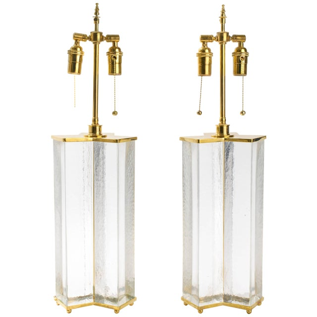 Cast Textured Glass Column Table Lamps For Sale