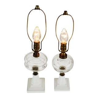 Vintage Electrified Oil Lamps With Milk Glass Base - Group of 2 For Sale