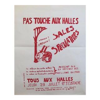 1968 French Political Protest Poster, Pas Touche Aux Halles