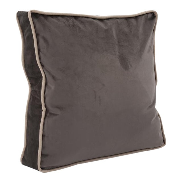 Kenneth Ludwig Chicago Gusseted Bella Pewter Velvet Pillow With Contrast Welt For Sale