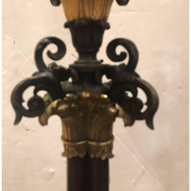 19th Century Louis XV Bronze and Ormolu Electrified Candelabra For Sale - Image 4 of 11