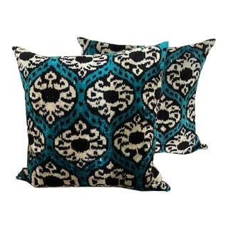 Teal & Black Woven Silk Pillows - A Pair