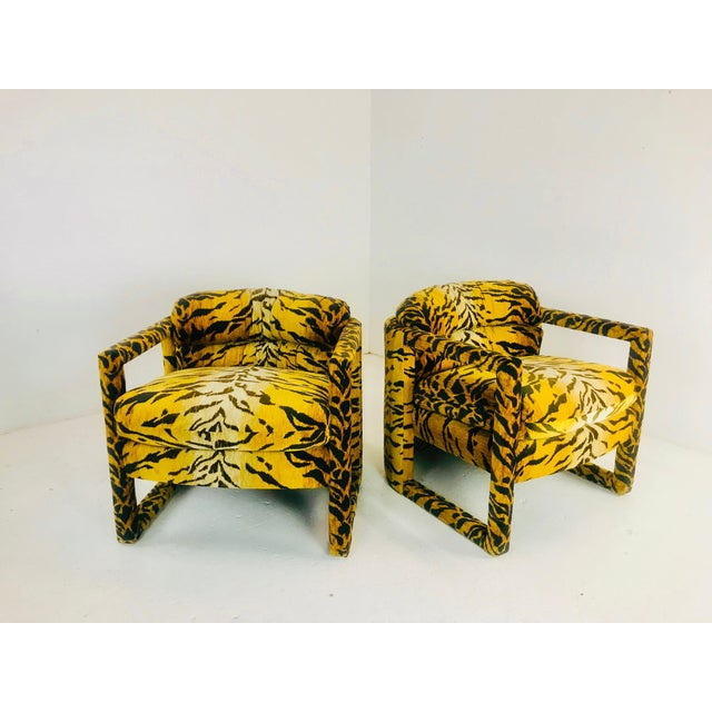 Custom Tiger Print Milo Baughman Chairs For Sale - Image 10 of 13