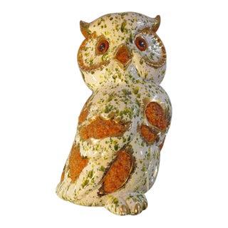 Vintage Mid Century Modern Ceramic Owl Hanging Light Fixture, C1960 For Sale
