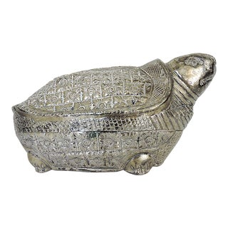 Vintage Indian Silver Turtle Box or Catchall For Sale