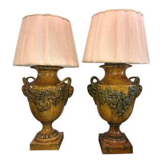 Italian Tuscan Majolica Style Lamps - a Pair For Sale