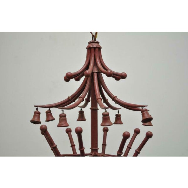 Asian 1940s Red Italian Faux Bamboo Chinese Chippendale Tole Metal Pagoda Chandelier For Sale - Image 3 of 11