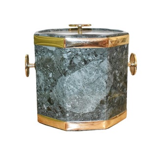 Malachite Ice Bucket With Gold Detail