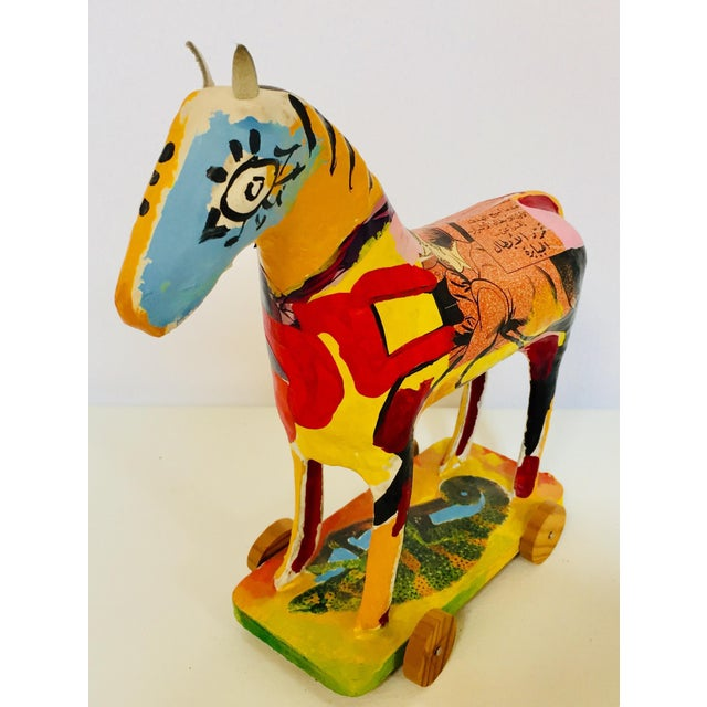 Papier Mâché Sculpture of a Horse in Polychrome Arabic Writing For Sale In Los Angeles - Image 6 of 12