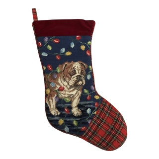 Needlepoint Bulldog Stocking For Sale