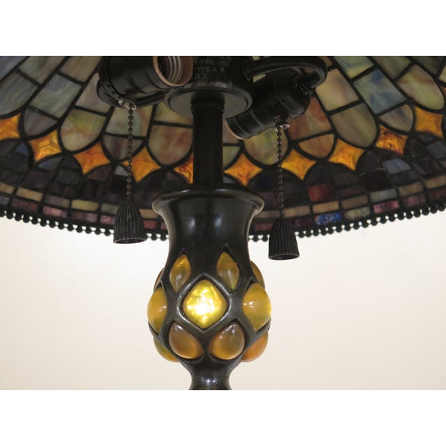 Quoizel Arts & Crafts Stained Glass Lamp For Sale In Philadelphia - Image 6 of 9
