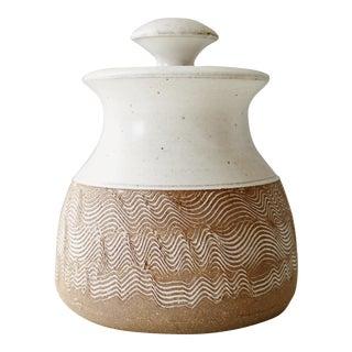 Vintage Mid Century Handmade Ceramic Lidded Studio Pottery Jar For Sale
