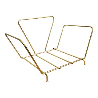 Vintage Brass Table Top Record Rack For Sale