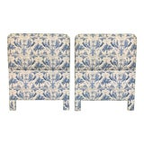 Image of Twin Size Chinoiserie Style Upholstered Headboards For Sale