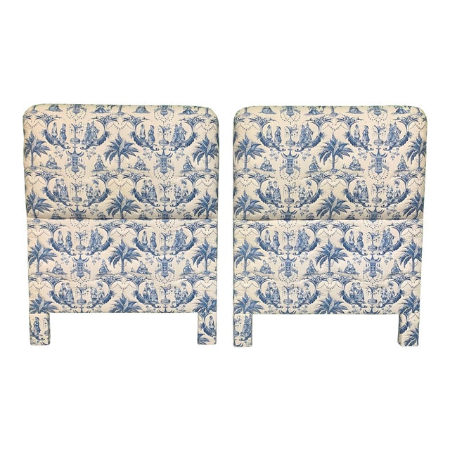 Twin Size Chinoiserie Style Upholstered Headboards For Sale