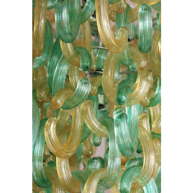 "Glass Murano Glass Green and Gold ""C"" Link Chandelier For Sale - Image 7 of 9"