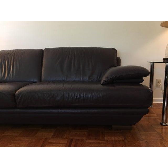 Italian Natuzzi Aubergine Leather Sofa | Chairish