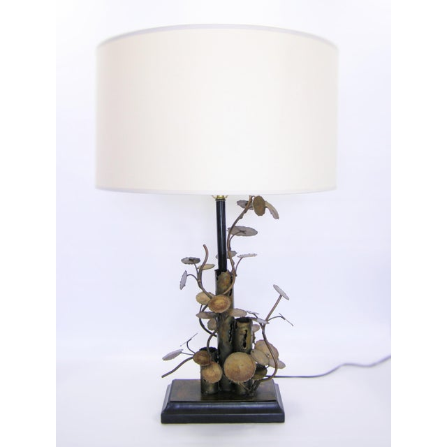 1970s Silas Seandel Brutalist Metal Table Lamp-Curtis C. Jere Raindrops Sculpture Style Mid-Century Modern MCM Millennial For Sale - Image 5 of 11
