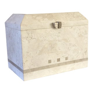 1980s Art Deco Maitland-Smith Tessellated White Stone Large Storage Box For Sale
