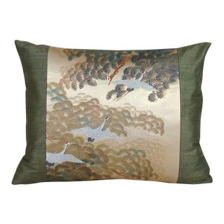 Flying Cranes Japanese Silk Obi Lumbar Pillow Cover For Sale
