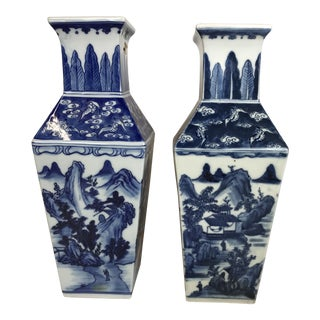 Pair of Chinese Blue and White Porcelain Vases With Lucite Base For Sale