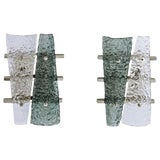 Image of Geometric Crystal & Aqua Green Murano Glass Nickel Sconces-a Pair For Sale