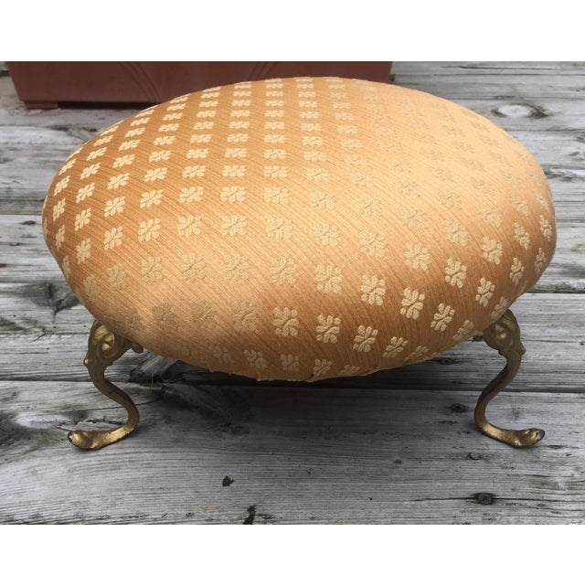 Antique Gold Cushioned Footstool - Image 5 of 7
