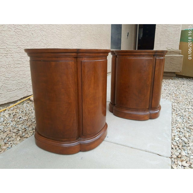 Traditional Henredon Walnut Clover Shaped End Tables - A Pair For Sale - Image 3 of 9