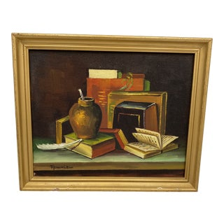 Frank Lean Original Still Life With Books Painting, Framed For Sale