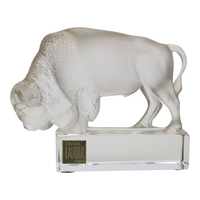 Lalique Crystal Bison Paperweight For Sale