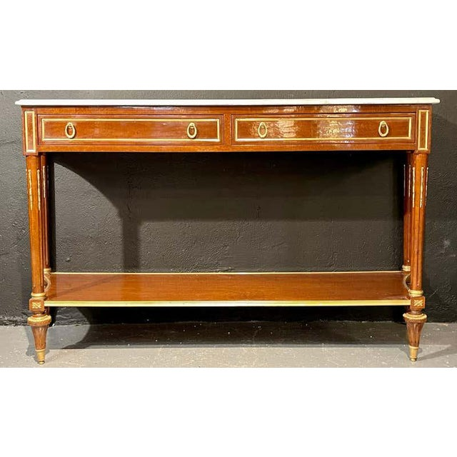 Pair of Louis XVI Style Marble Top Consoles / Sideboards in the Jansen Manner For Sale - Image 11 of 13
