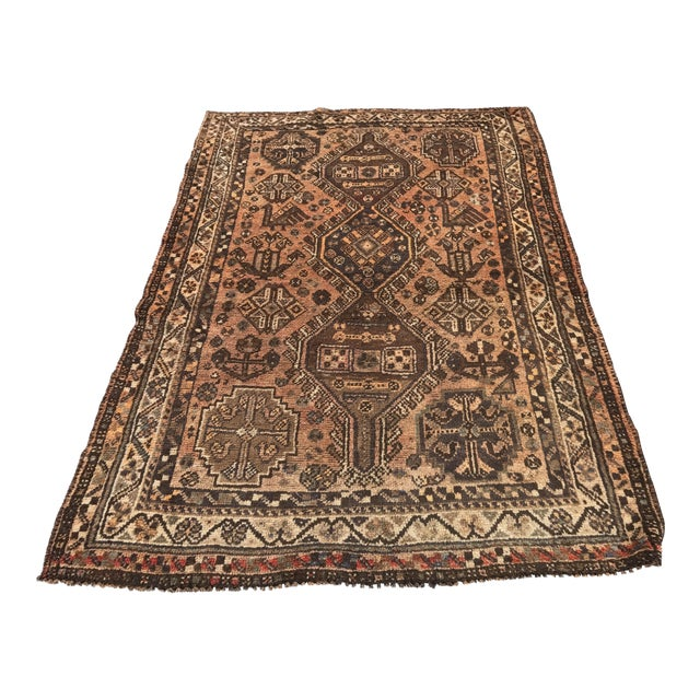 """Vintage Persian Shiraz Area 70-Year-Old Rug - 4'6"""" x 6'3"""" - Image 1 of 10"""
