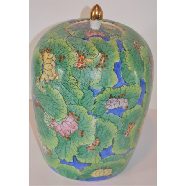 Ceramic (Price Firm) Chinese Lotus and Swallow Ginger Jar For Sale - Image 7 of 9